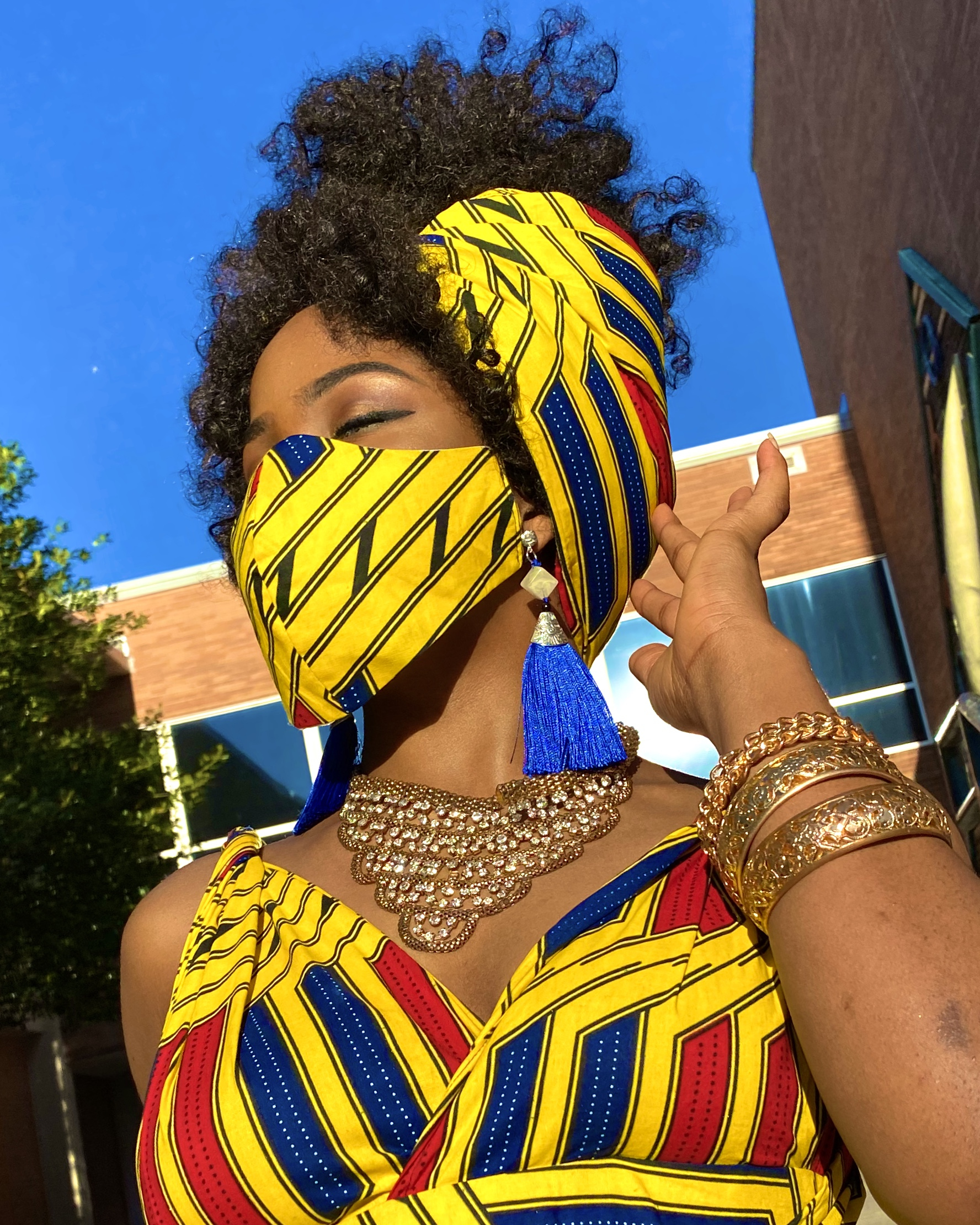 ANJA FACE MASK FOR AFRICAN PRINT YELLOW BLUE RED ANKARA