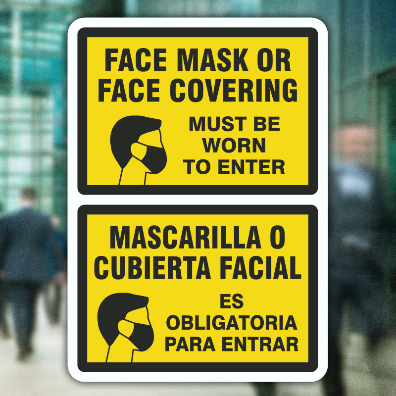 Bilingual Face Mask Covering Sign D6252BI By SafetySign
