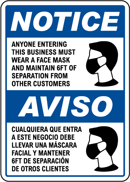 Bilingual Wear A Face Mask Sign D6069BI By SafetySign