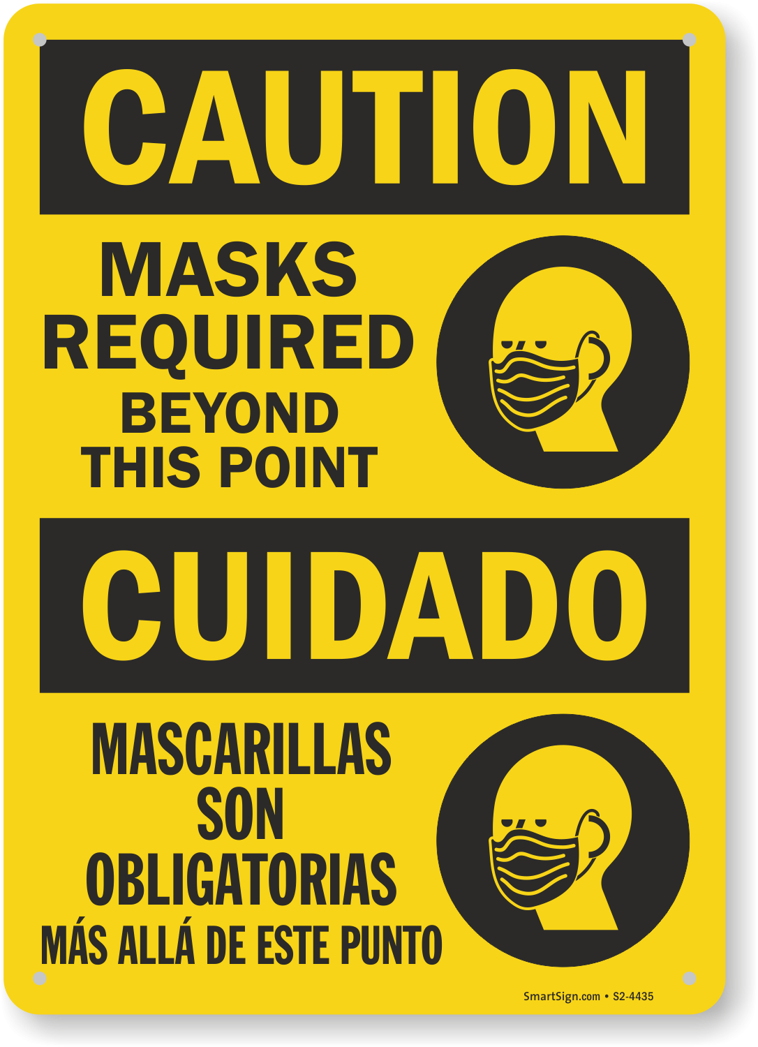 Caution Masks Required Beyond This Point Bilingual Spanish