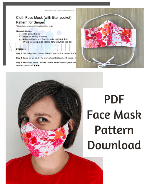 Cloth Face Mask with Filter Pocket Pattern For Serger