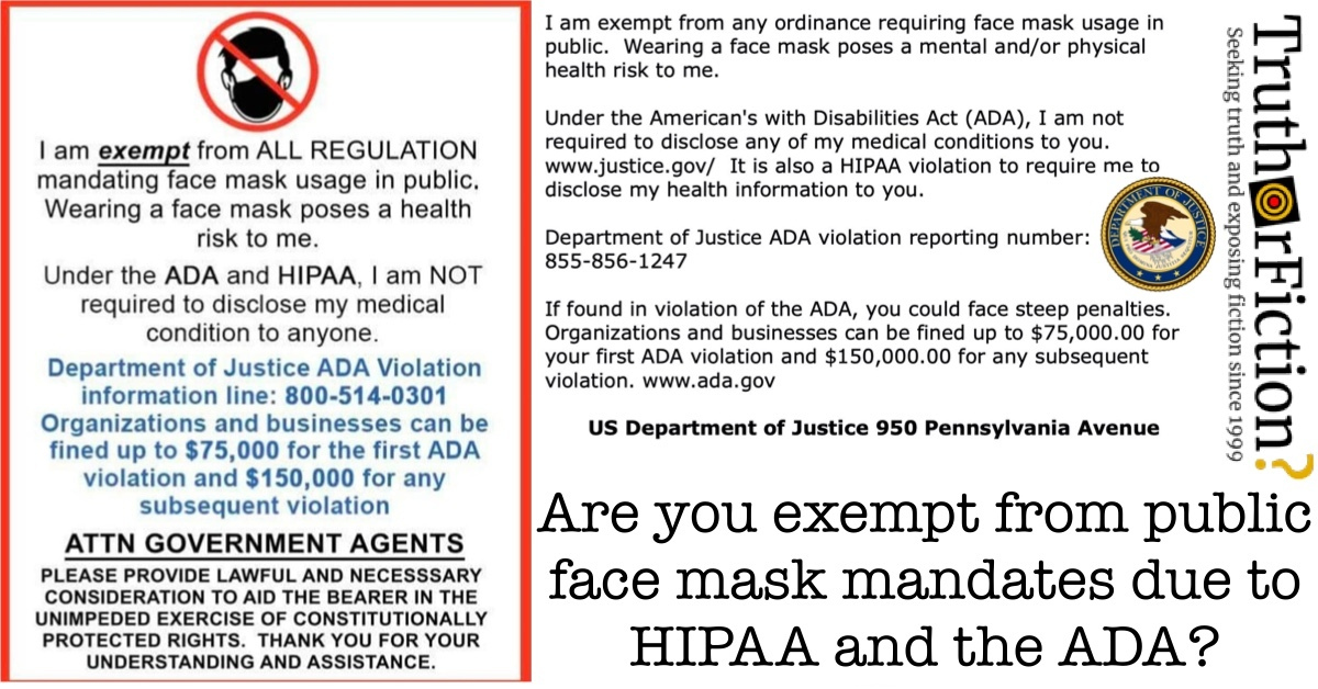 COVID 19 HIPAA Face Mask Exemption Passes Truth Or