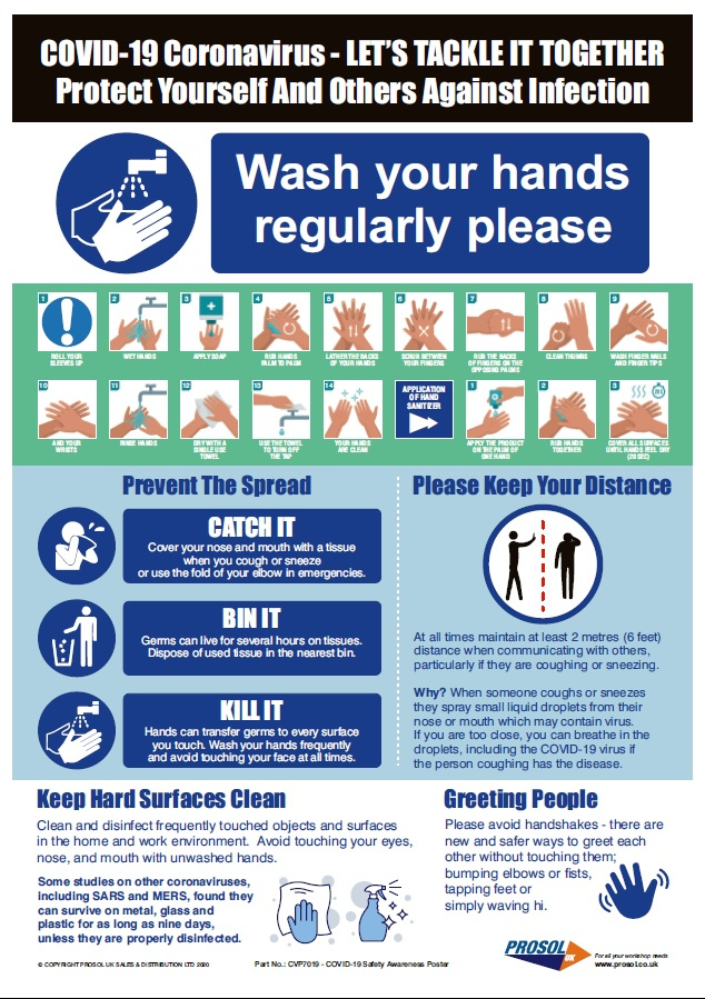 COVID 19 Safety Awareness Poster Printed Version Prosol