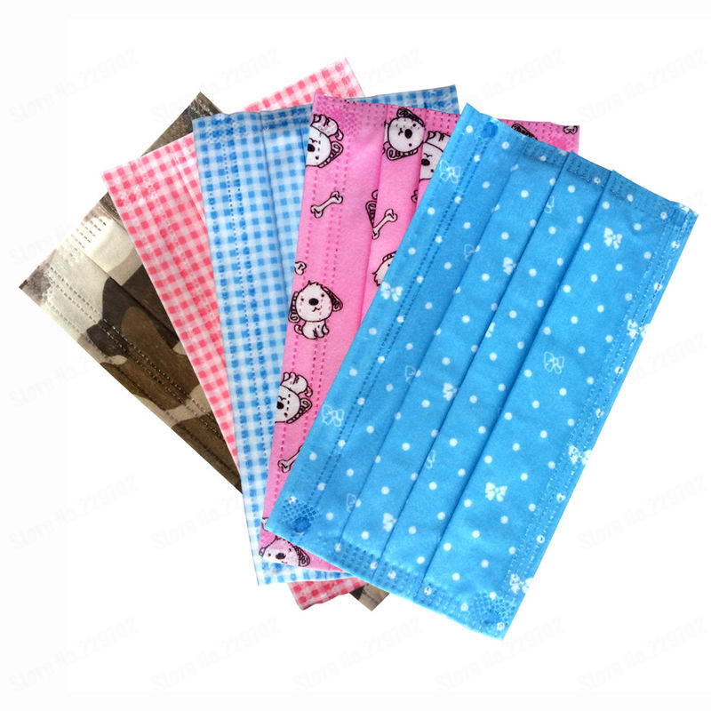 Cute Printed 3 Ply Disposable Face Mask Non Woven With