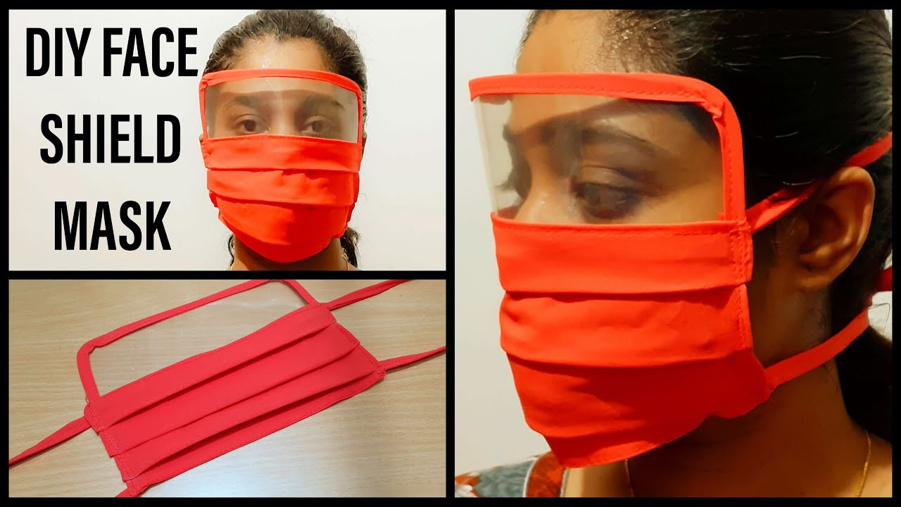 DIY FACE MASK WITH EYE SHIELD NO ELASTIC FACE MASK WITH