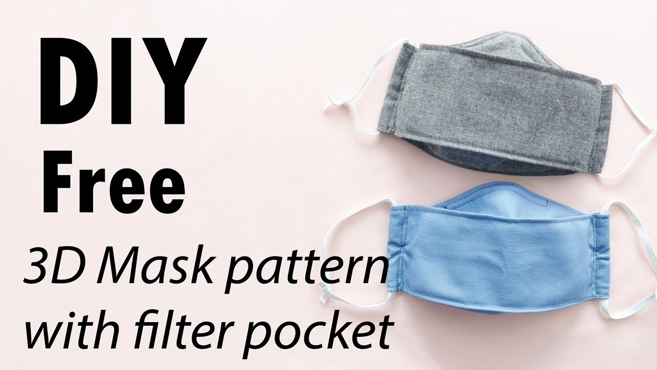 DIY Free Pattern 3D Mask With Filter Pocket 2 Sizes