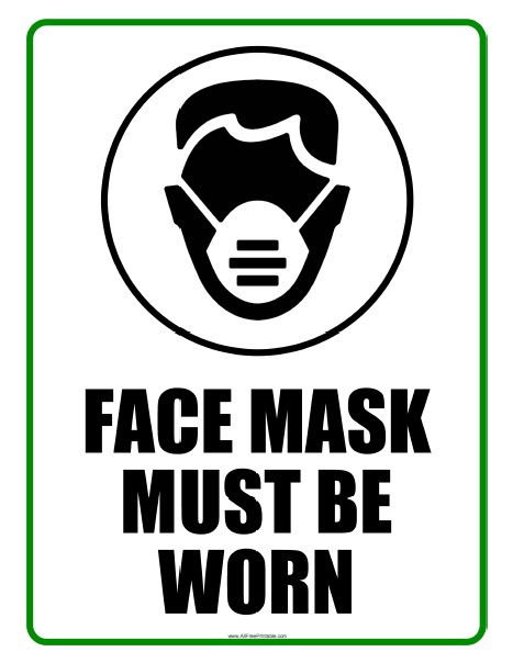 Face Mask Must Be Worn Sign Free Printable
