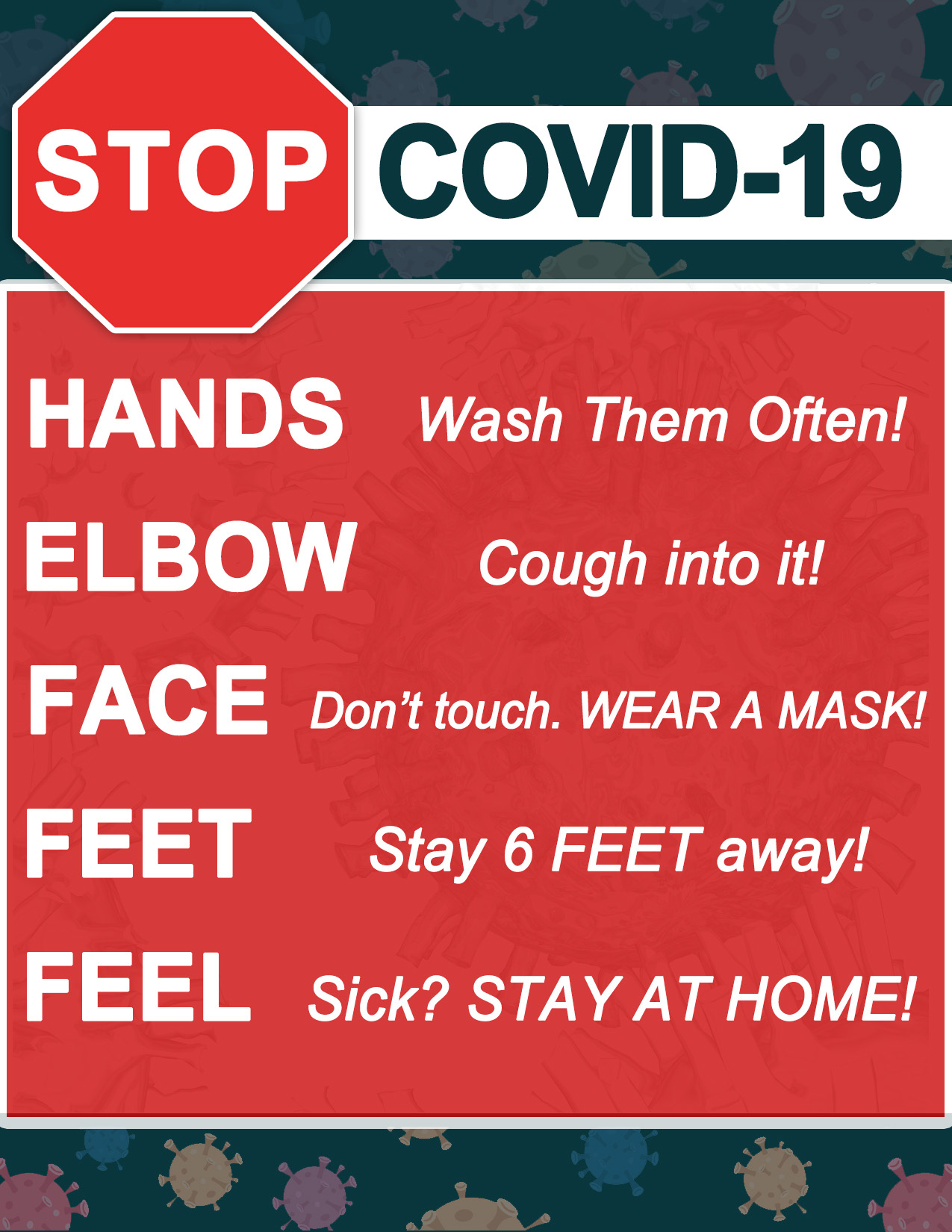 FREE COVID 19 Poster Print out Z95 5