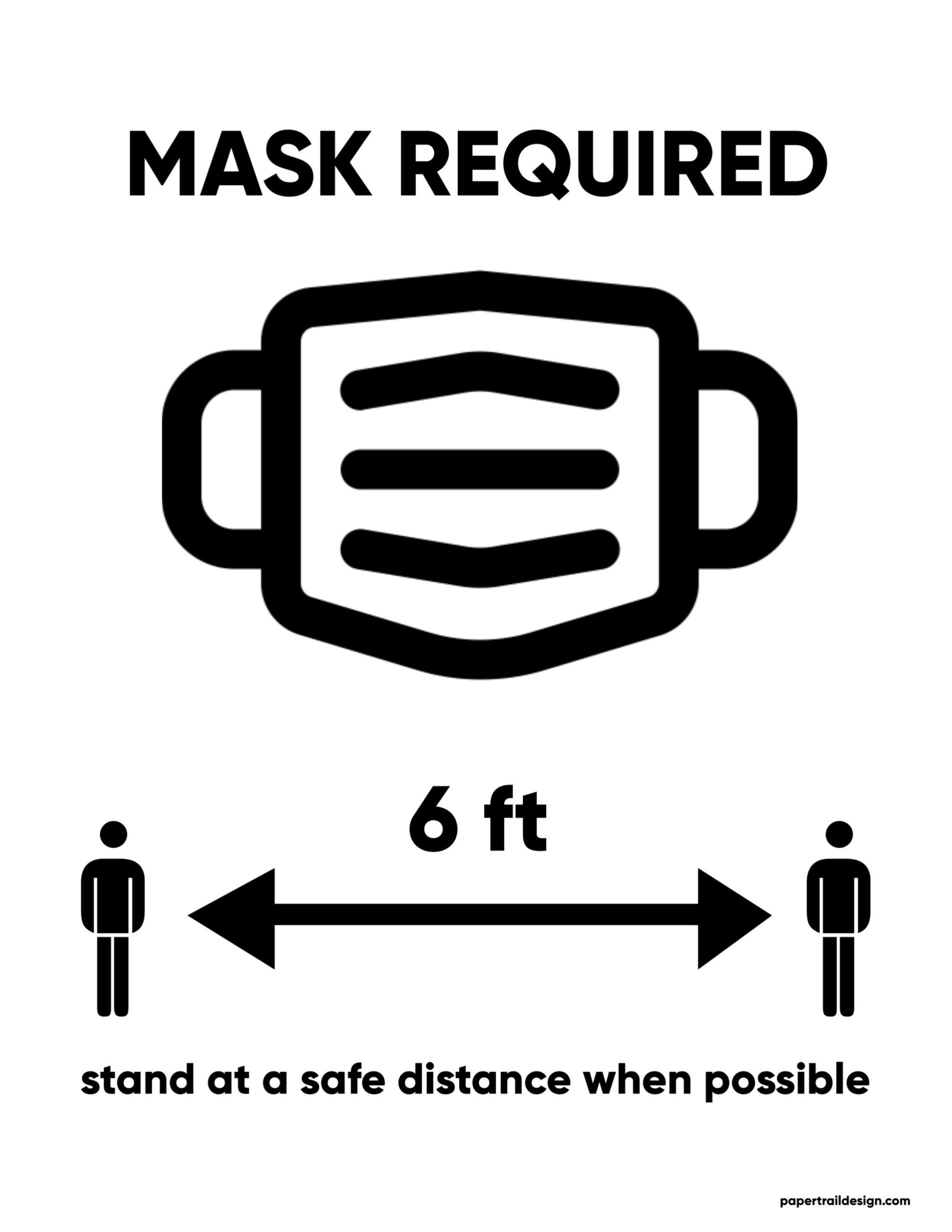 Free Printable Face Mask Required Sign Paper Trail Design