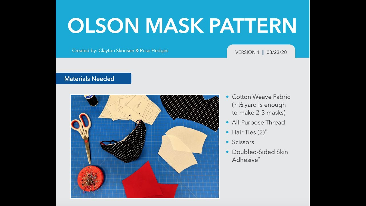 Olson Mask Sewing Tutorial Pattern Links And Mask Info