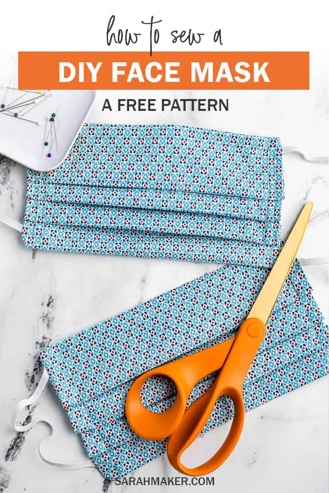 Pleated Face Mask Pattern With Ties Or Elastic Free