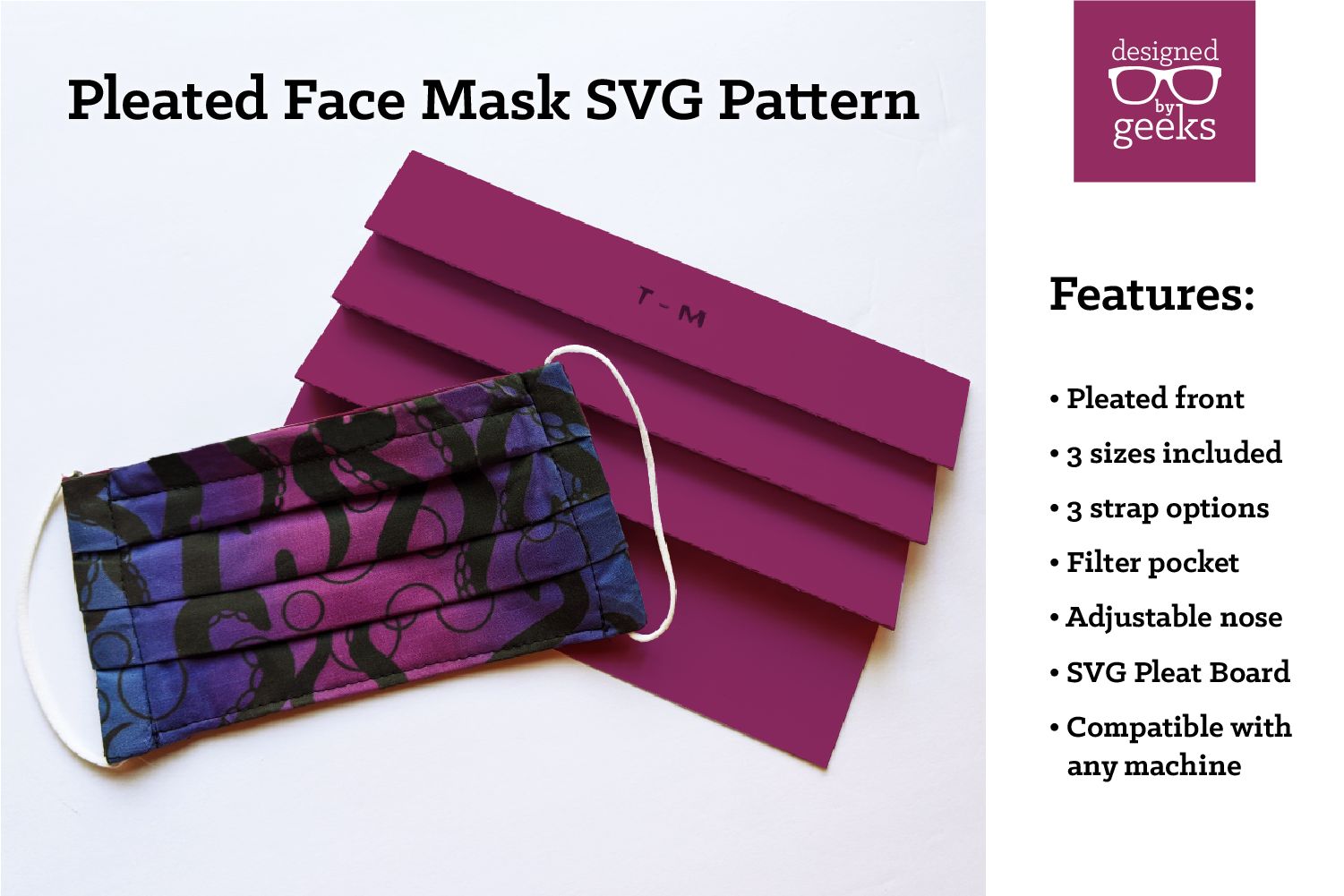 Pleated Face Mask SVG Sewing Pattern With Pleat Board