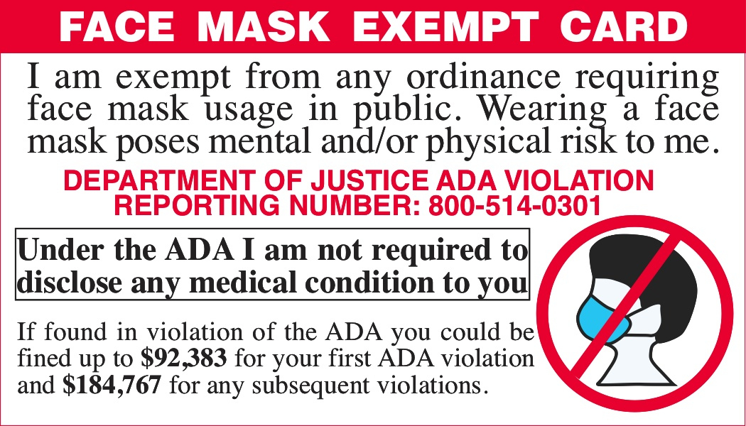 Print Your Own Face Mask Exempt Card AIM Truth Bits