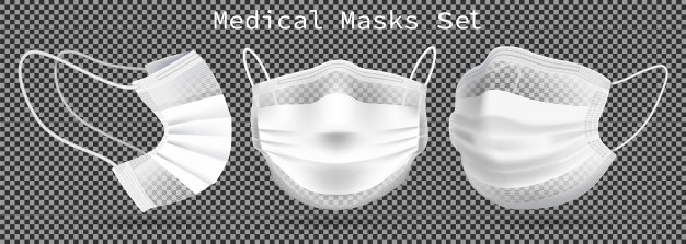 Set Of Medical Masks Template From Different Angles To