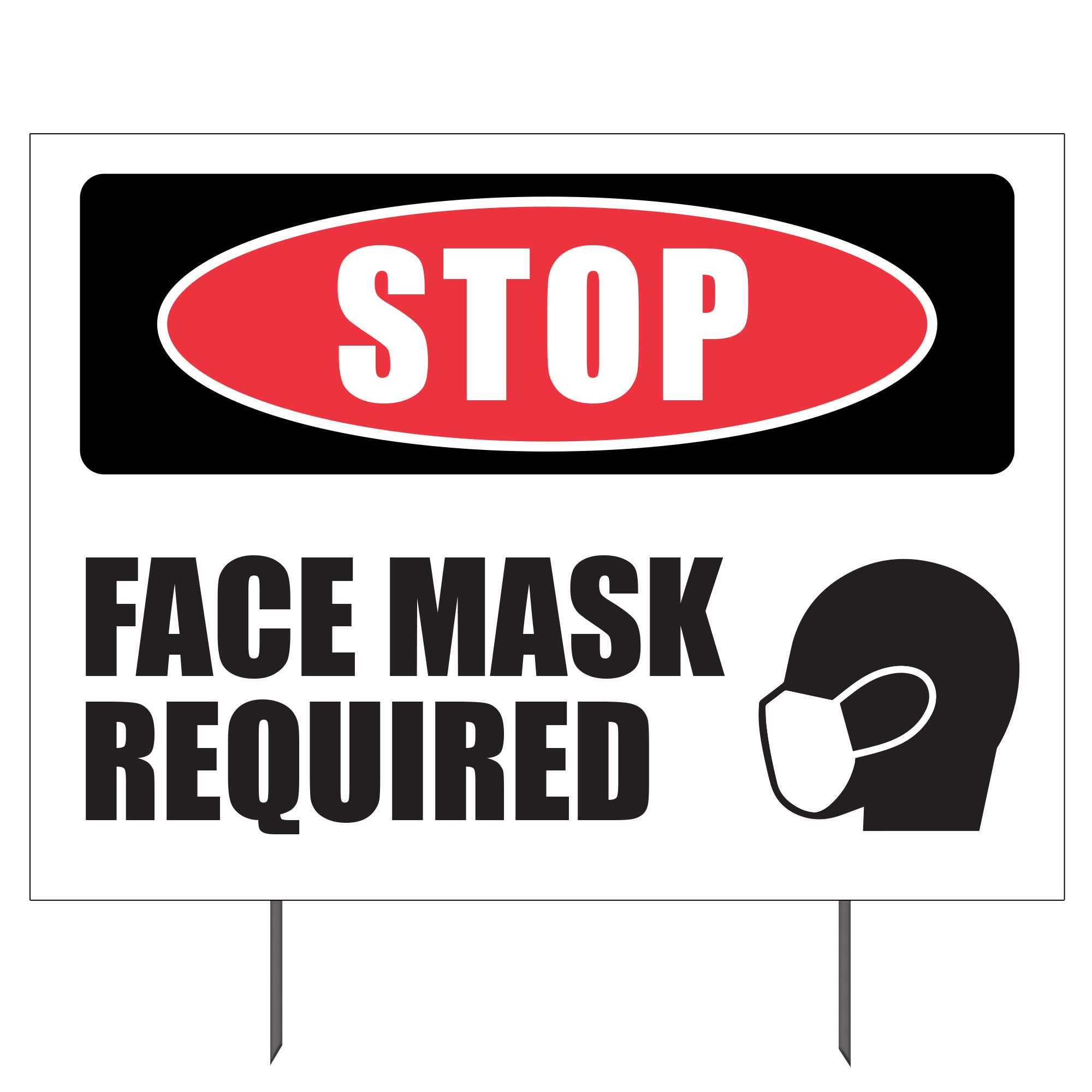 Stop Face Mask Required Double sided Yard Sign 23x17