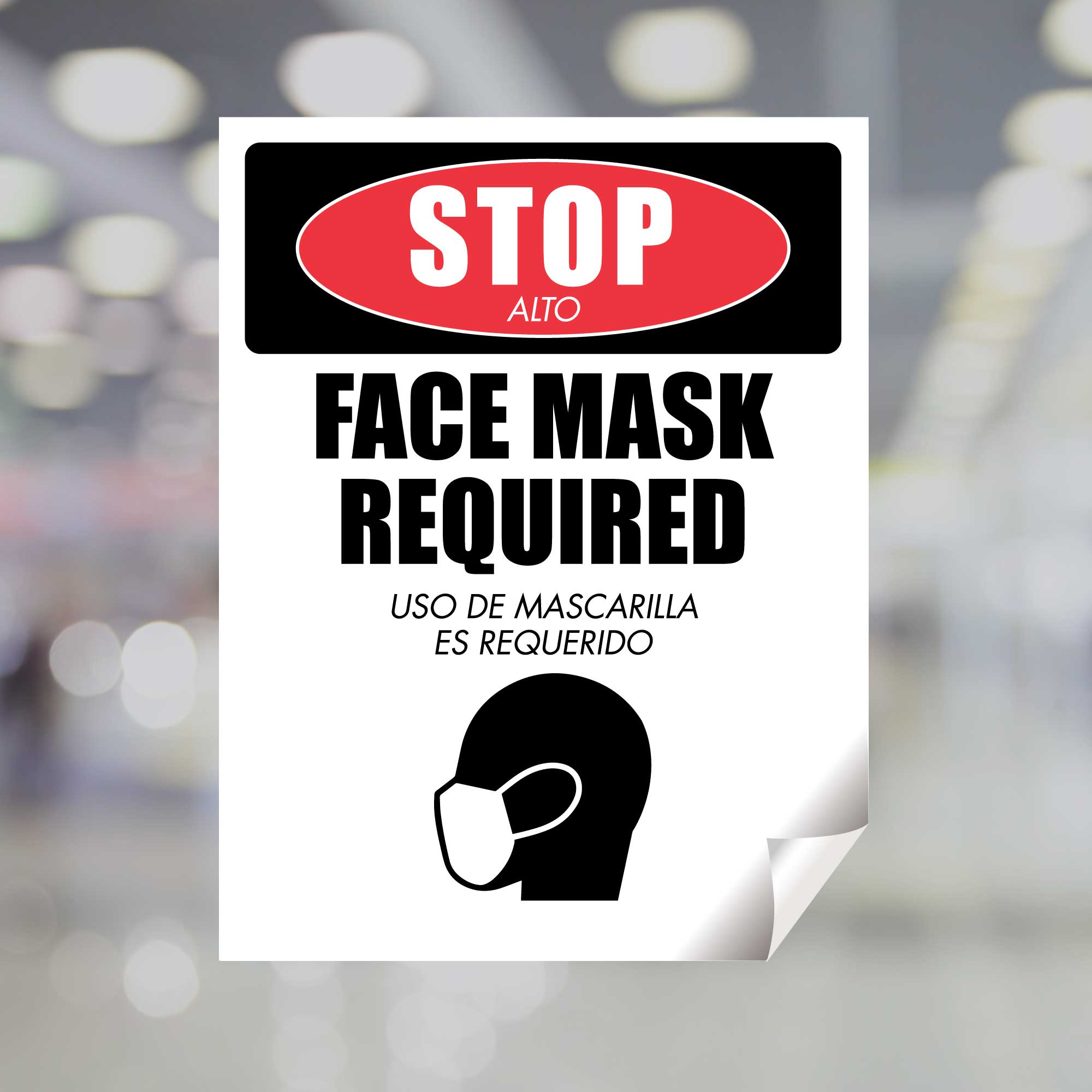 Stop Face Mask Required English Spanish Window Decal