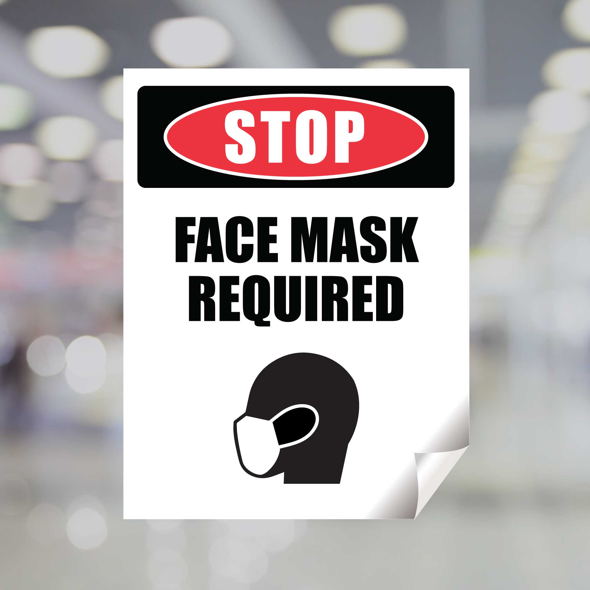 Stop Face Mask Required Window Decal Plum Grove