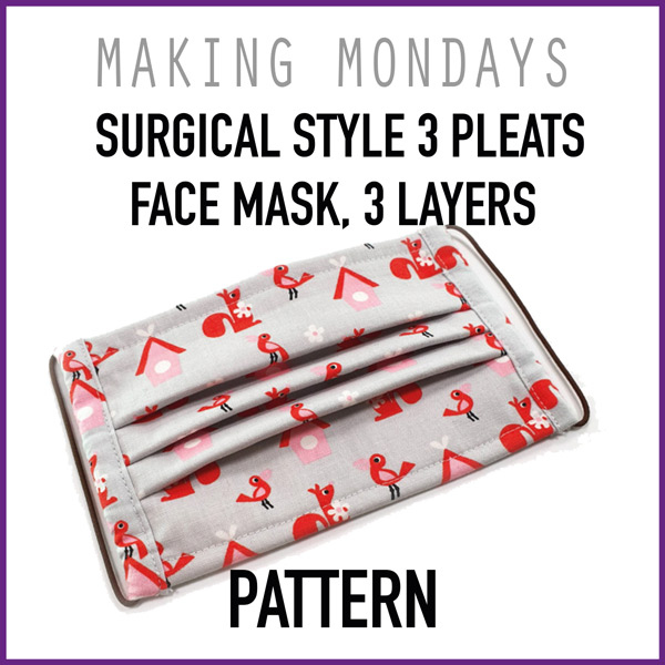Surgical Style 3 Pleats Face Mask 3 Layers Pattern