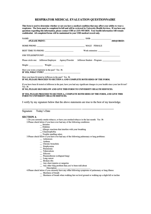 Top 7 Respirator Fit Test Form Templates Free To Download