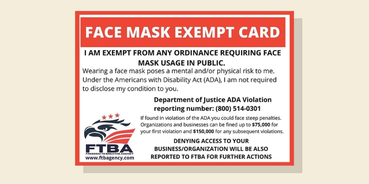 US Sees Spike In Fake Mask Exemption Cards Claiming To Be